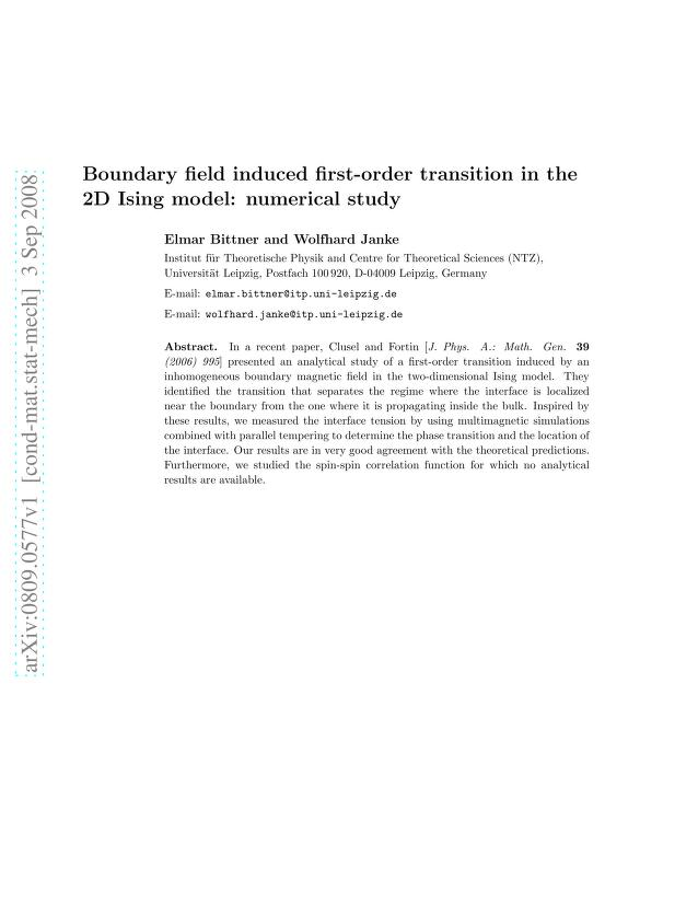 Elmar Bittner - Boundary field induced first-order transition in the 2D Ising model: numerical study