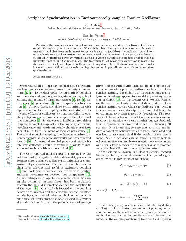G. Ambika - Antiphase Synchronization in Environmentally coupled Rossler Oscillators