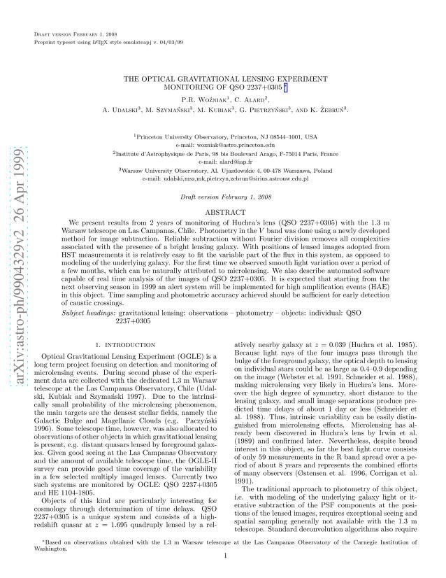 P. R. Wozniak - The Optical Gravitational Lensing Experiment. Monitoring of QSO 2237+0305