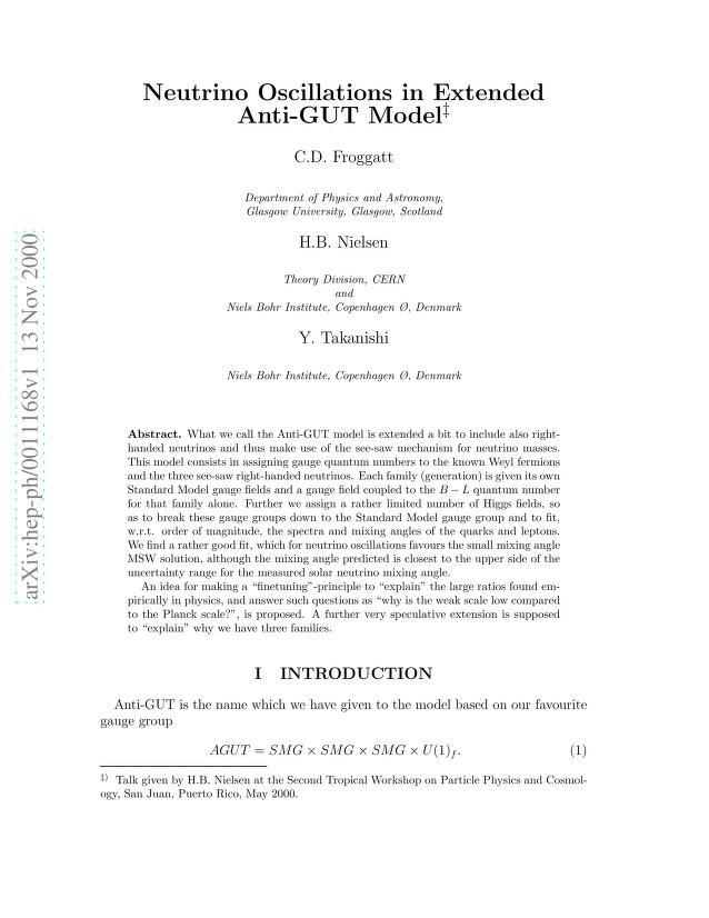 C. D. Froggatt - Neutrino Oscillations in Extended Anti-GUT Model