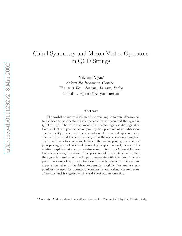 Vikram Vyas - Chiral Symmetry and Meson Vertex Operators in QCD Strings