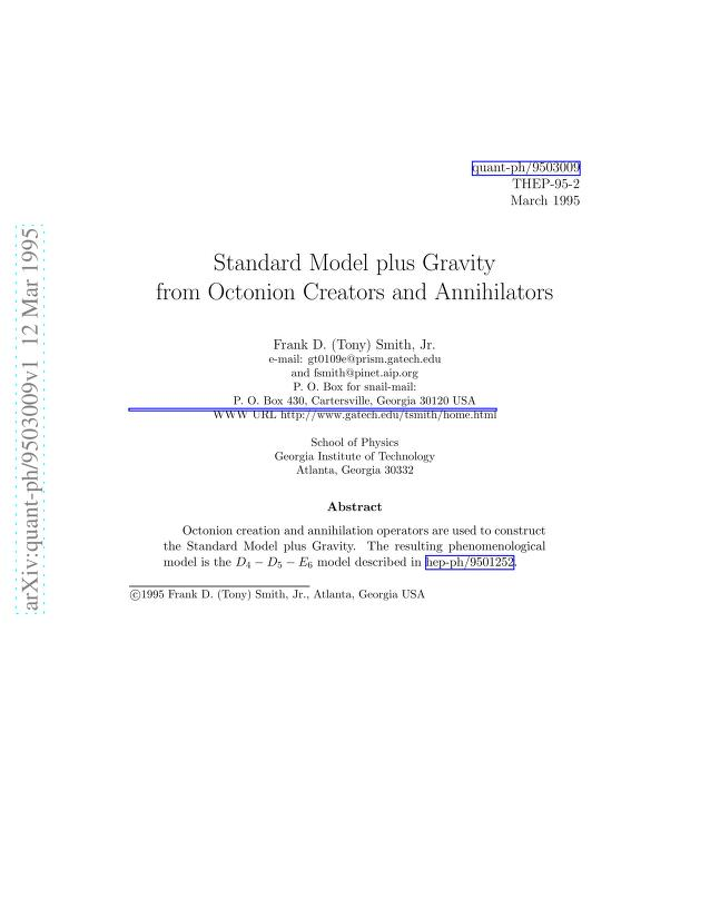 Jr Frank D. Smith - Standard Model plus Gravity from Octonion Creators and Annihilators