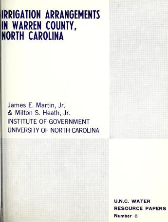 Irrigation arrangements in Warren County, North Carolina by Martin, James E.
