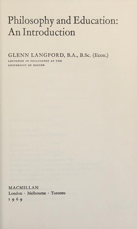 Philosophy and education by Glenn Langford